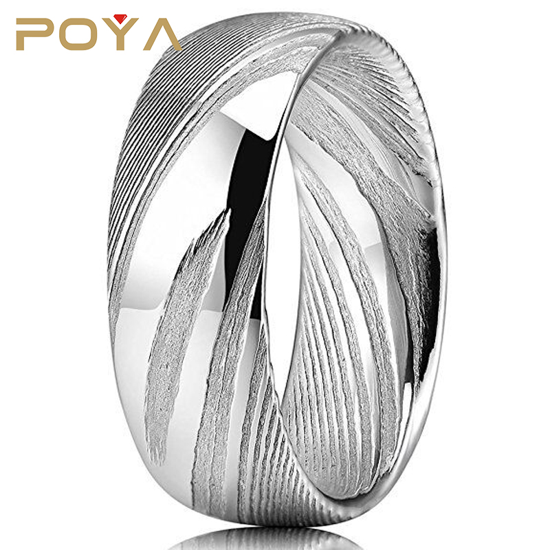 POYA Jewelry Mens 8mm Rare Damascus Steel Wedding Ring Engagement Band Statement Ring Dome Style