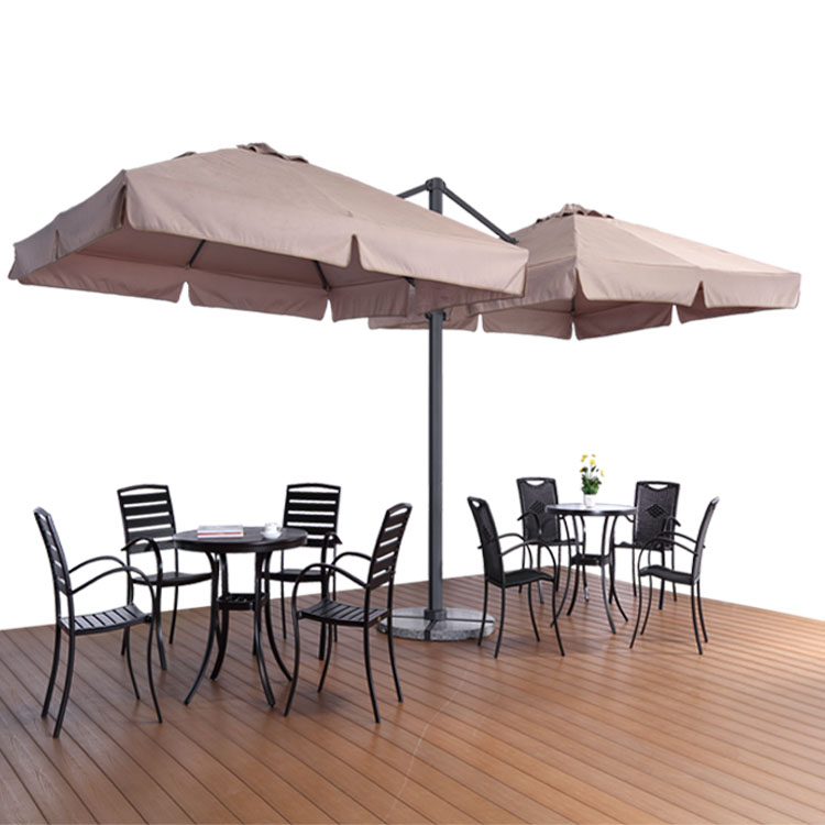 3x3m Waterproof Double Sided Coffee Mini Patio Umbrella