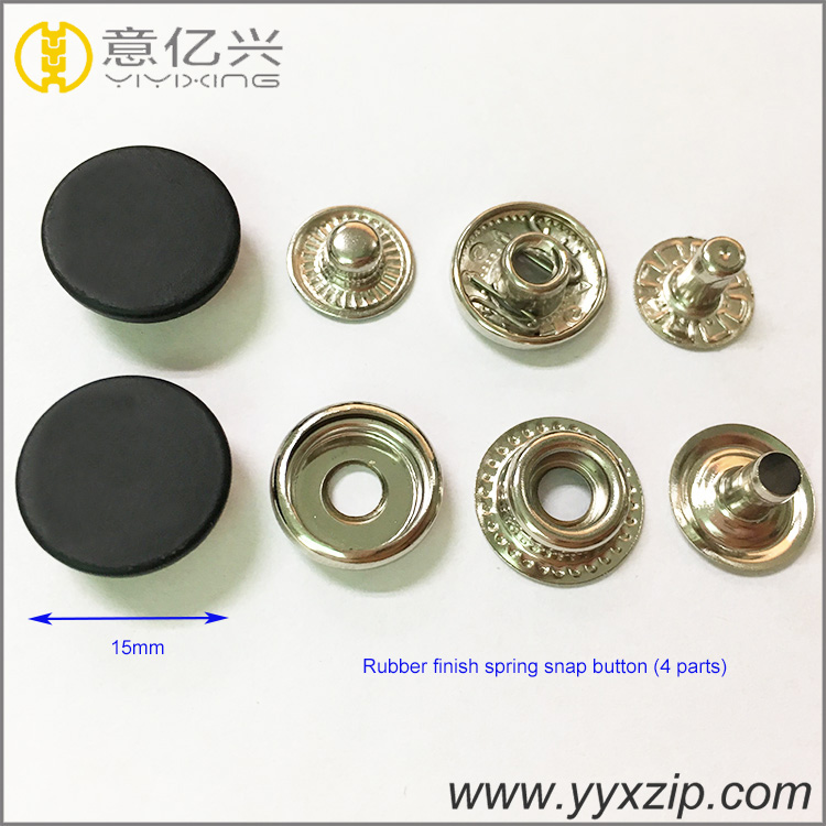 high quality rubber silicone finish 24L spring metal snap button for jean jacket