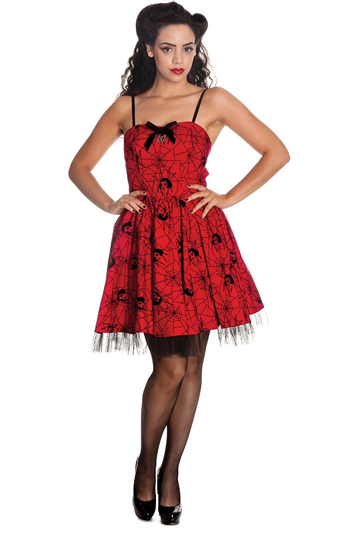 d452fca3daff7 Get Quotations · Hell Bunny Rockabilly Gothic Spooky Black Widow    Spiderweb Mini Dress