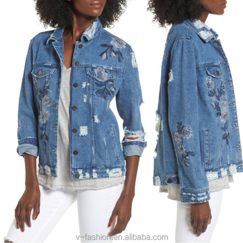Floral Embroidered Ripped Denim Jacket Style Winter Jackets European
