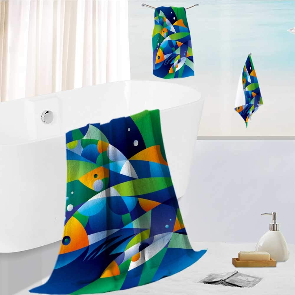 AmaPark Family Big Bath Towel set abstract fishes in the depths of the ocean vector illustration Printing Print Bath Towel Super Absorbent Body Wrap Pool Towel