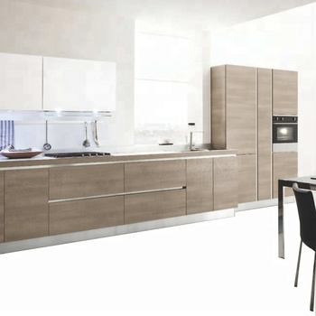 White And Woodgrain Combine Simple Kitchen Ideas For Apartment
