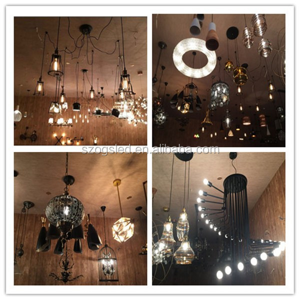 Home decoration vintage industrial wooden hanging pendant lamp E14*6