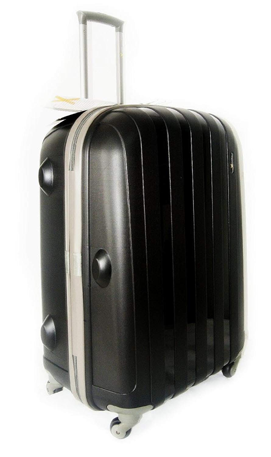 cbbb85745 Get Quotations · Luggage X - Set of 3 Lightweight Hard Shell Black Trolley  Suitcases 30