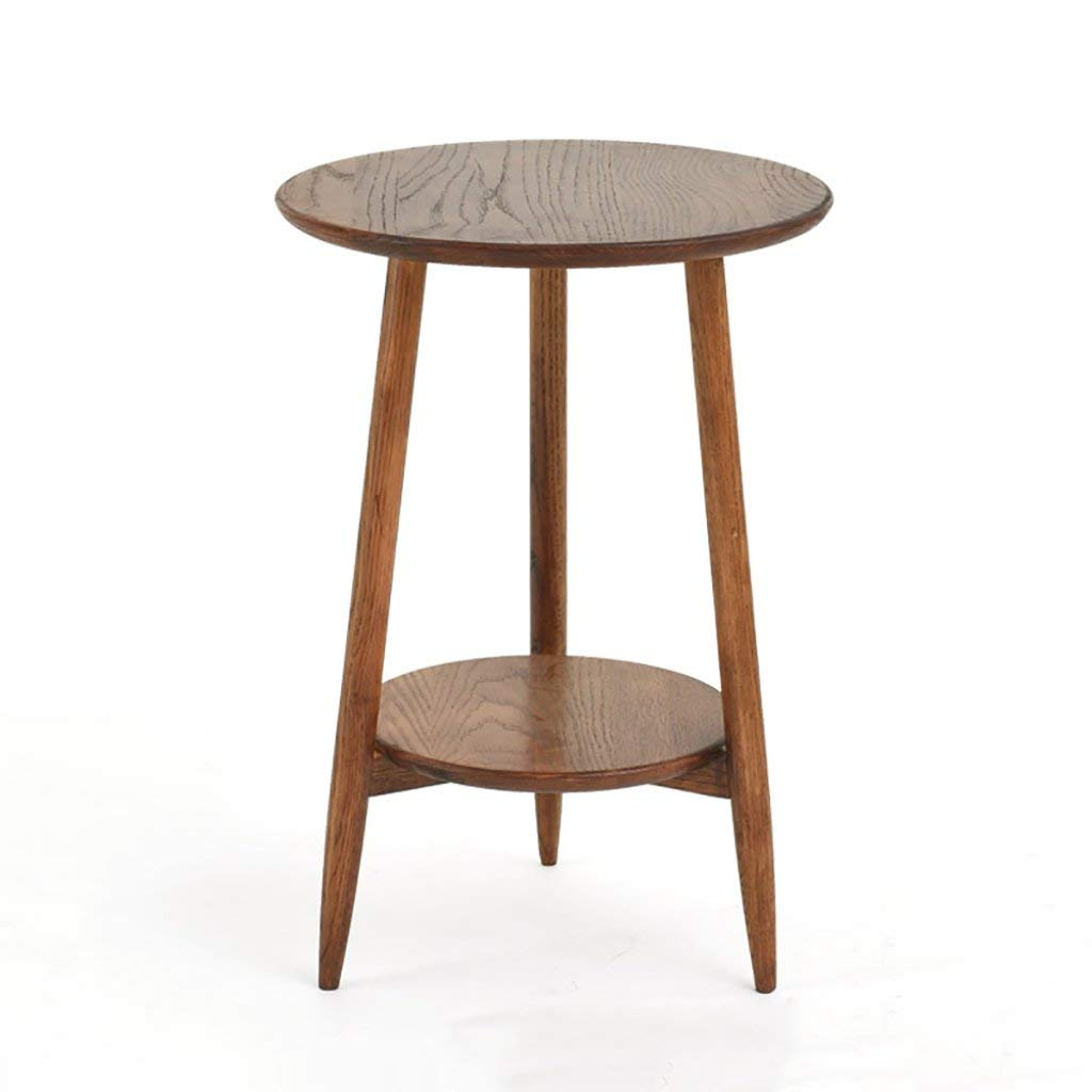 NUBAO Solid Wood Small Coffee Table Simple Round Side Mini Tables Sitting Area Small Round Table (Color : Oak, Size : Walnut color)