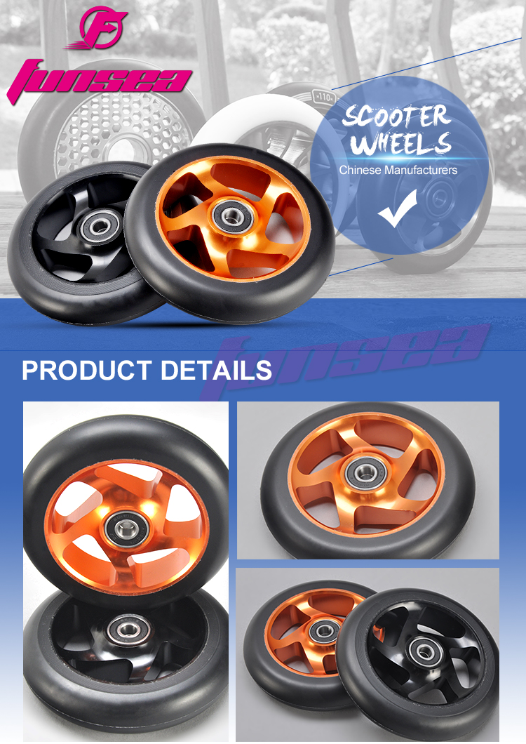 Wholesale high quality colorful aluminum alloy 6061 freestyle kick parts  110mm stunt scooter wheels with ABEC 9 Bearing