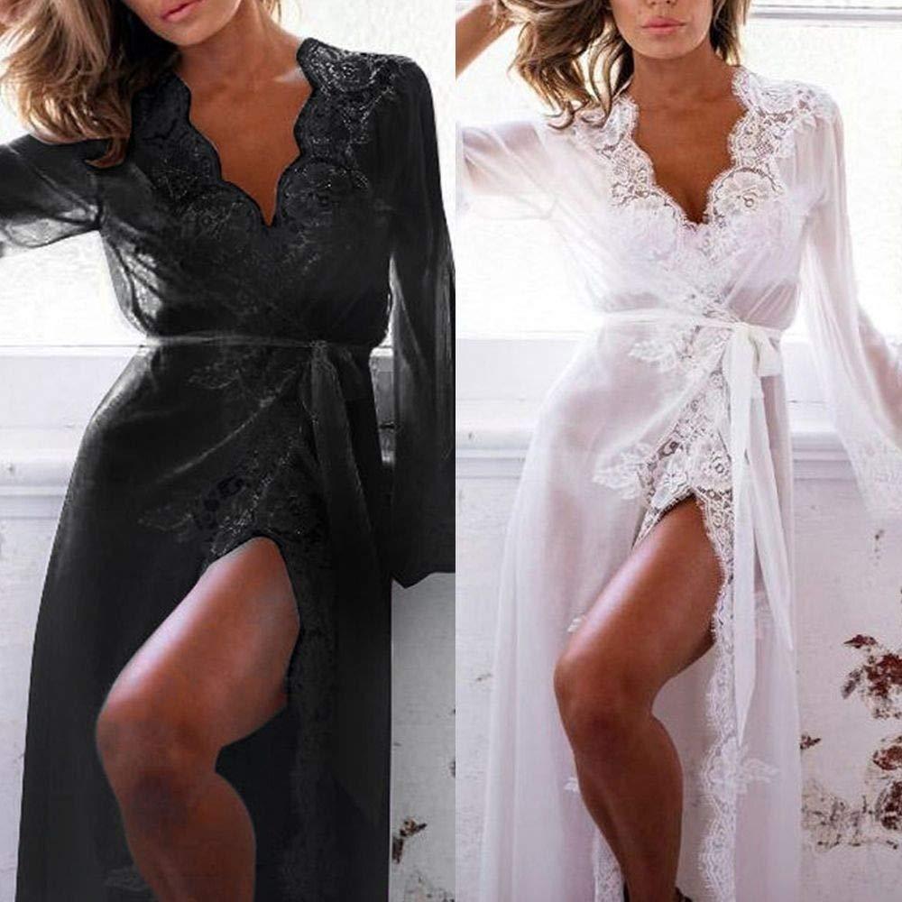 c3b70e814c Get Quotations · maledery Fashion Underwear Lingerie Bathrobes Sexy Lace  Robe Dress Pajamas Babydoll Sleepwear(White