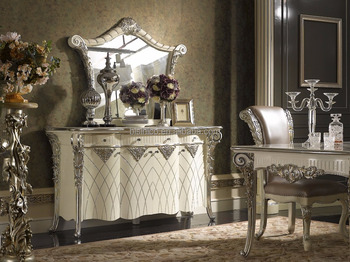 Louis XVI Style Neoclassical Buffet Table Set White Ornate And Mirror With Tidy