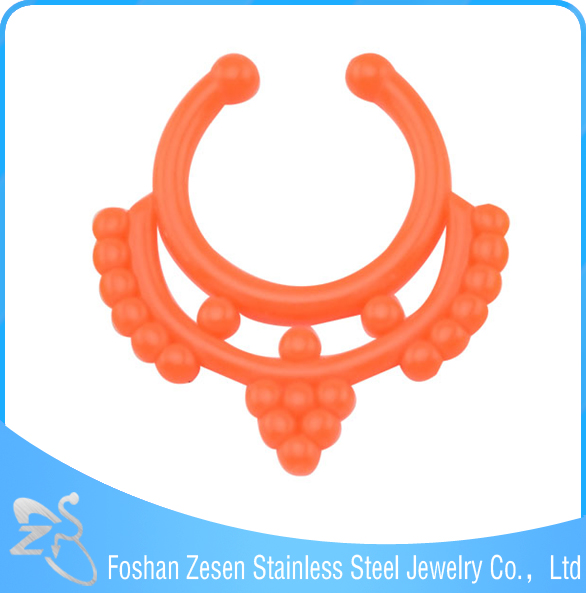 Competitive price orange acrylic indian women fake piercings nose