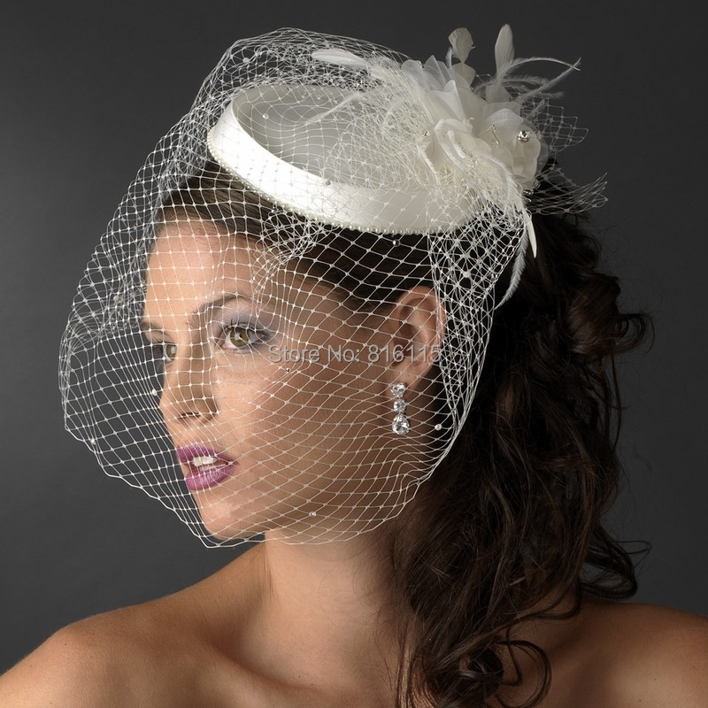 204f152fd0a02 Beautiful White Ivory Birdcage Bridal Flower Feathers Fascinator Bride  Wedding Hats Face Veils