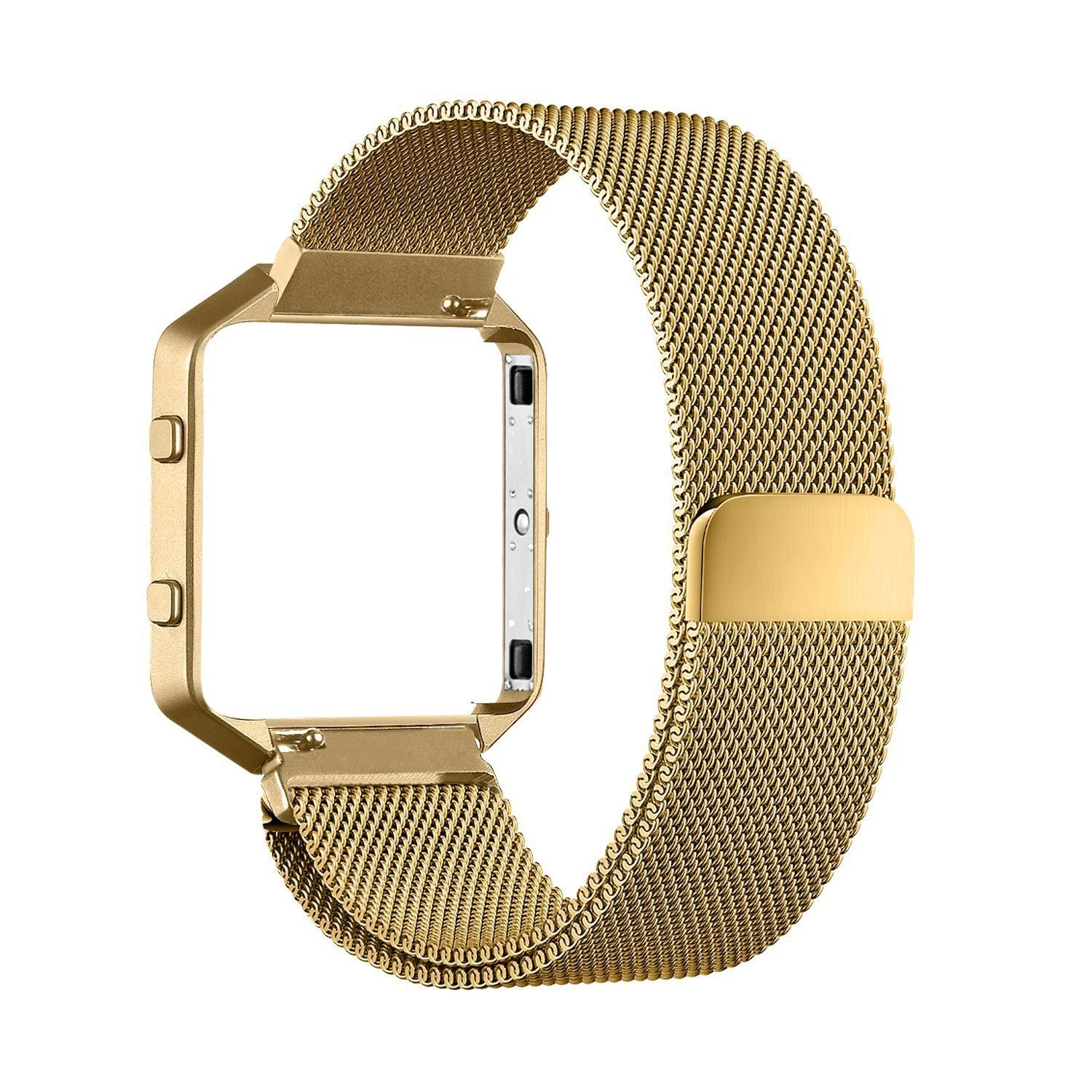 Fitbit Blaze Accessory Band,Large(6.3-9.1 in),Oitom Frame Housing+Milanese loop stainless steel Bracelet Strap for Fitbit Blaze Smart Fitness Watch (Gold Frame+Loop)