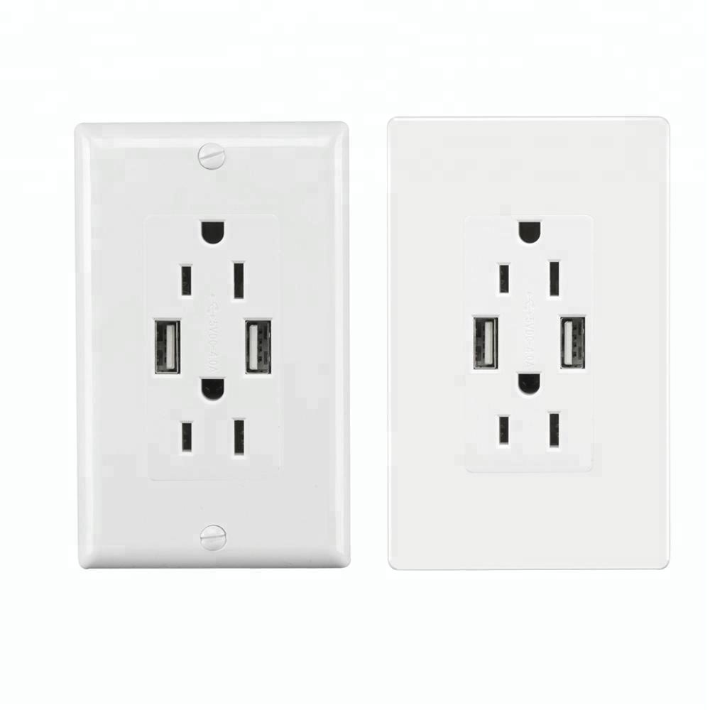 American CANADA USB wall socket electrical outlet 2 USB ports