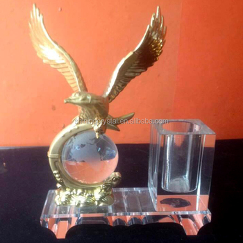 crystal desk accessories with metal eagle