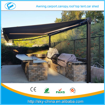 New Aluminum Terrace Awning With Polycarbonate Roof Prefab Electric Retractable Door Entrance