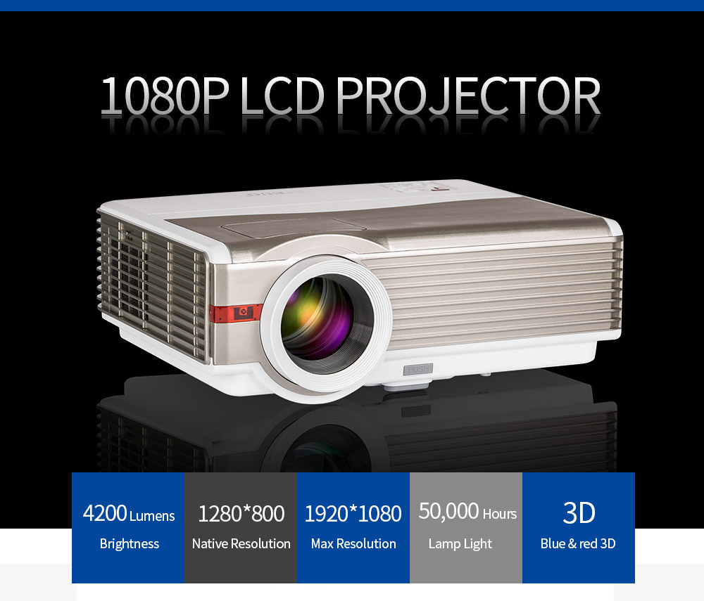 NEW brghtness 4200 Lumens LED lamp Full HD projector 3D led lcd Multimedia home Projector
