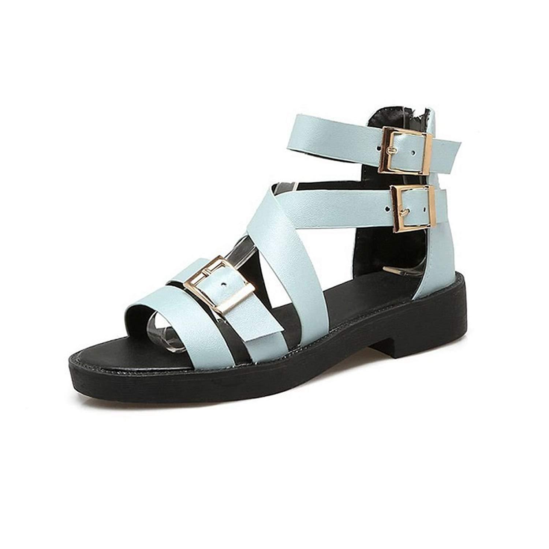 7466166790a6a4 Get Quotations · GIY Women s Strappy Low Heel Platform Sandals Open Toe  Buckle Strap Zipper Flat Dress Sandals Bootie