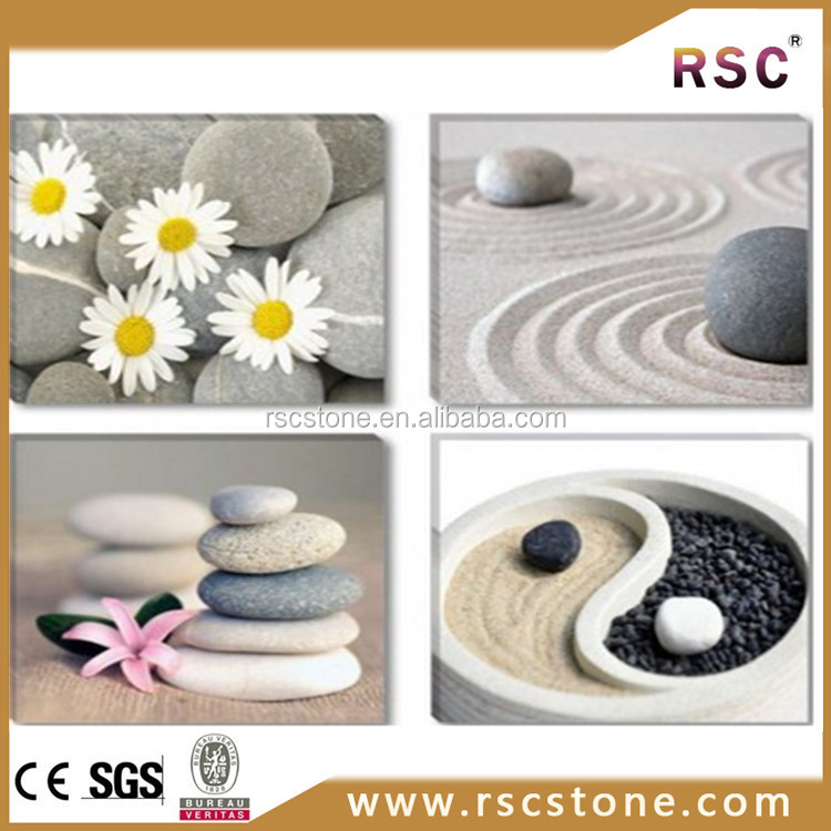 Black and white garden pebble stone decoration