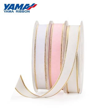 YAMA Factory Stocked 9-38MM Metallic Gold Edge Grosgrain Ribbon For Packing