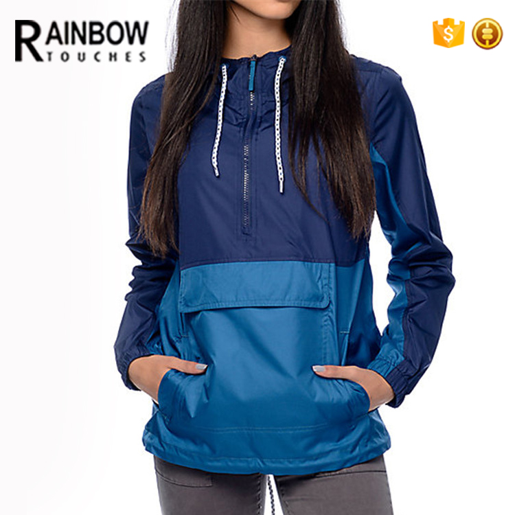 Wholesale Custom Women Nylon Hooded Pullover Blank Windbreaker Jacket With Front Pocket