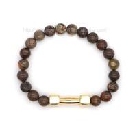 5% DISCOUNT 14k Gold Plated Dumbbell Charm Bracelet Gold Bracelets for Men HPYL1977