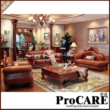 Procare European Style Wooden Solid Wood Leather Sofa Set Designs - Buy  European Sofa Set,Solid Wood Sofa Set,Sofa Set Designs Product on  Alibaba.com