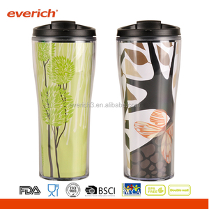 Hot Sales Double Wall Paper Insert Plastic Tumbler