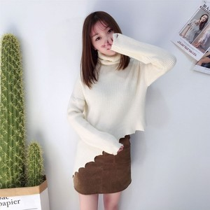 2019 new arrival pink lady turn down collar irregular women sweater
