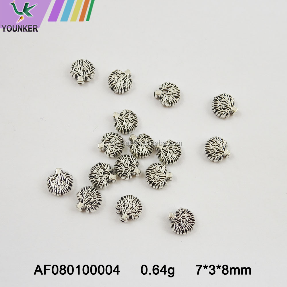 New Arrival Eco-friendly jewelry accessories engraved metal beads silver beads necklace jewelry metal beads