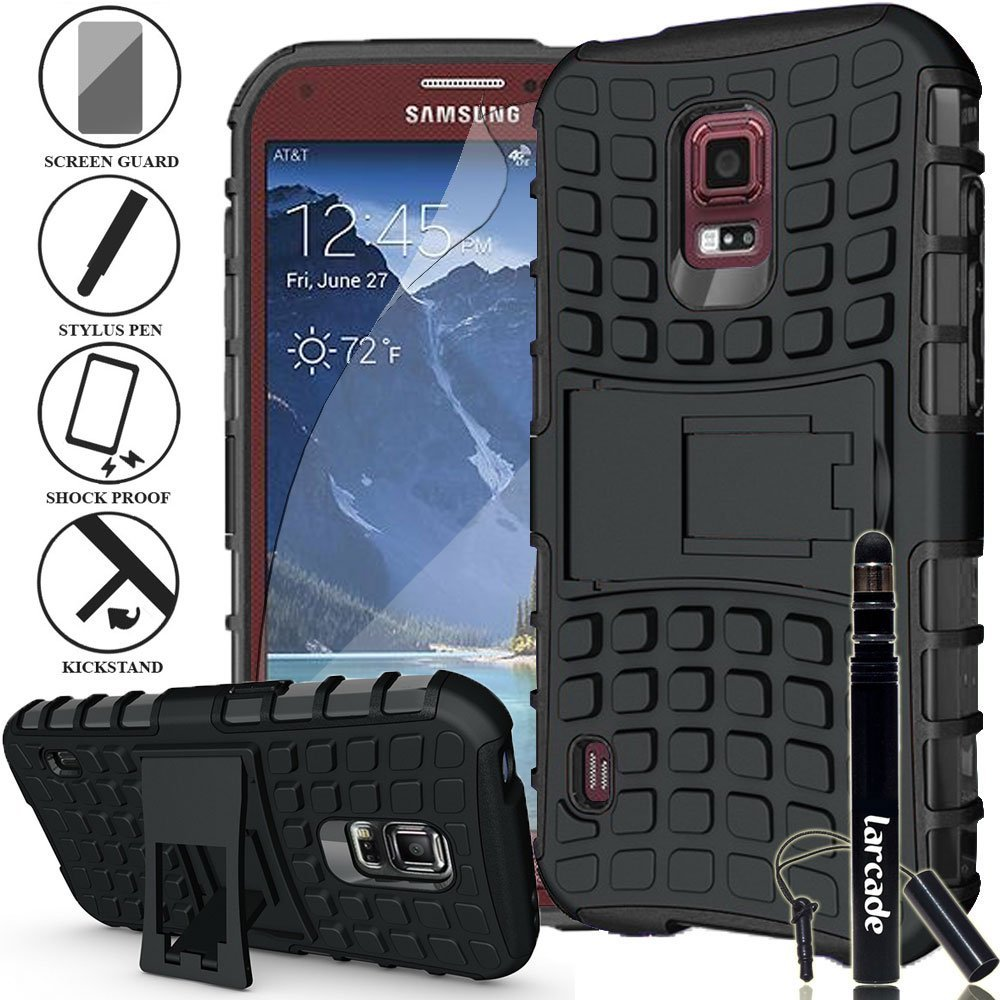 LARCADE (TM) 3 in 1 Bundle - Samsung Galaxy S5 Active (for SM-G870A Water and Shock Resistant Version Smartphone) - Heavy Duty Grenade Armor Case with Kickstand - Black (Include Premium Screen Protector & Sensitive Cap Stylus Pen by LARCADE)(Not Fit Samsung Galaxy S5 Regular Version i9600)