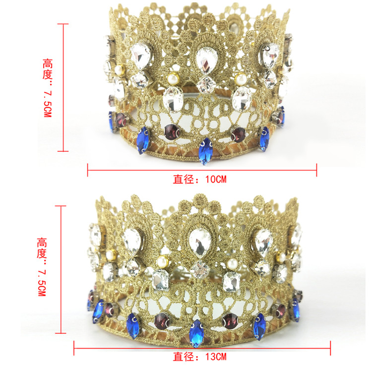 5 inch Wholesale Decorative  Rhinestone Flower Lace Wedding Bridal Hair Accessories Crown With Headbands