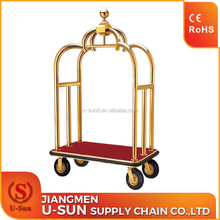 High Quality Stainless Steel Bellman Cart Used grand Hotel Luggage Cart gold hotel bellboy trolley
