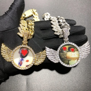 New design Hiphop Iced out Wing picture pendant