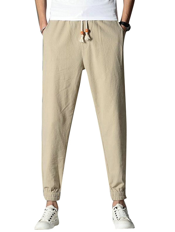 Fensajomon Mens Cotton Casual Running Drawstring Loose Cropped Jogger Pants