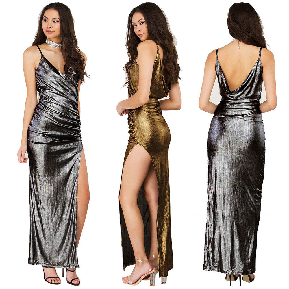 Sexy gold club dress