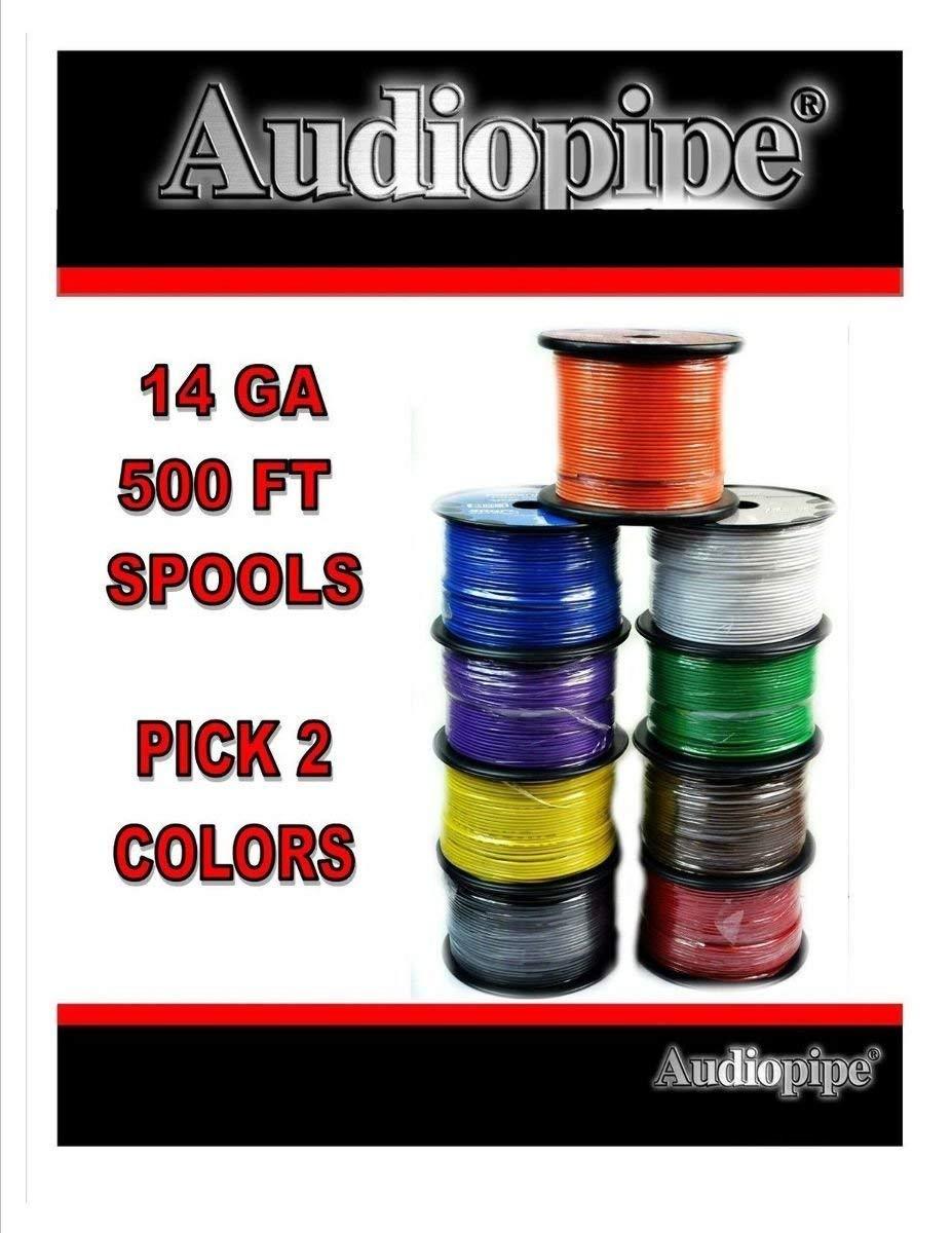 Two rolls 14 GA 500' Audiopipe Car Audio Home Primary Remote PICK COLORS