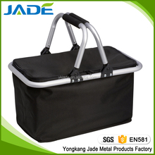 Premium Jade 100% polyester double handle folding picnic baskets for camping,cheap promotional folding shopping basket