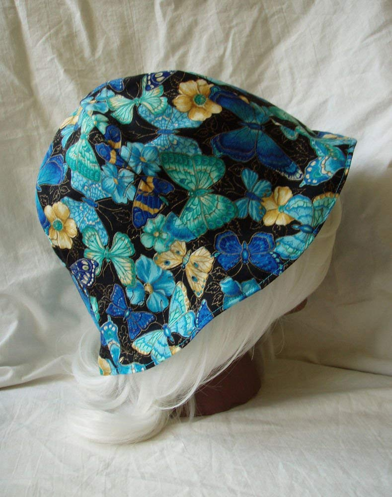 Get Quotations Erfly Print Reversible Fabric Hat Blue Yellow Size Med Large
