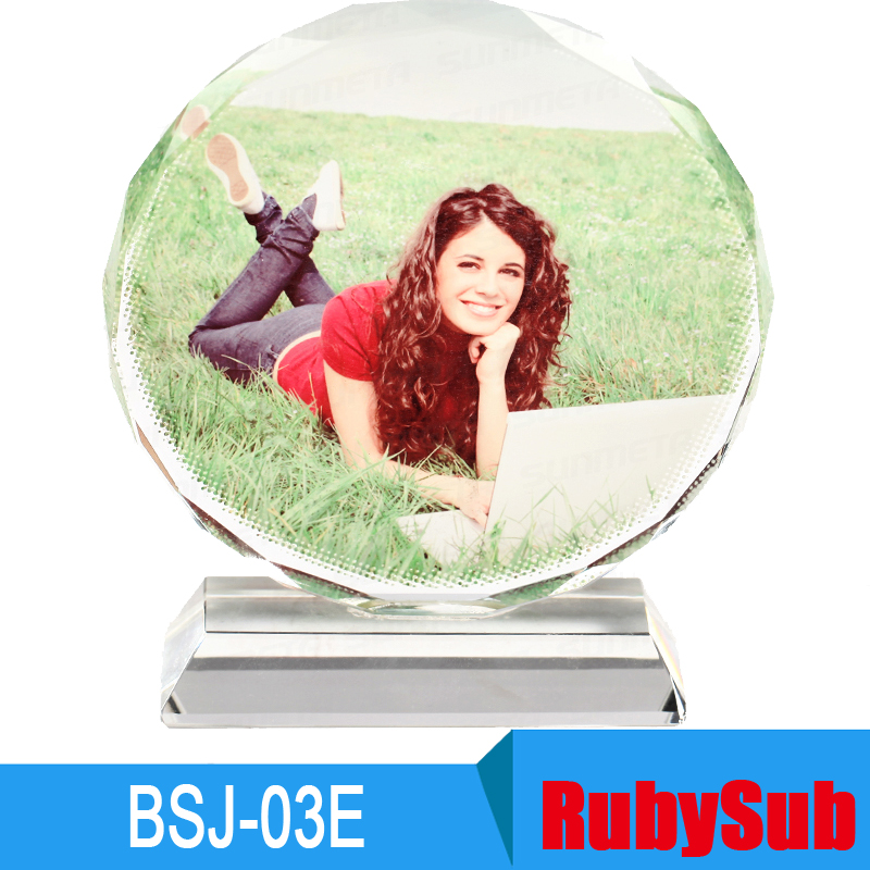 12cm Round Shape Wholesale Photo <strong>Crystal</strong> UV <strong>Crystal</strong> for Sublimation Printing BSJ-03E
