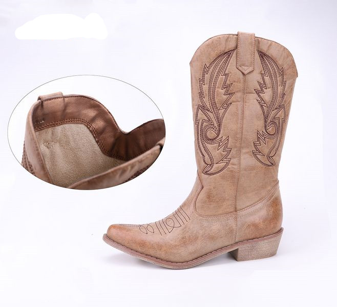 339f1c5bde8 Custom Logo Faux Leather Square Toe Western Style Women Cowboy Boot With  Traditional Embroidery - Buy Cowboy Boots,Women Cowboy Boots,Western Cowboy  ...