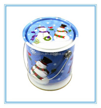 Cartoon Decorative Bucket/Pail Tin Snowman Christmas Holiday, Ice And Snow