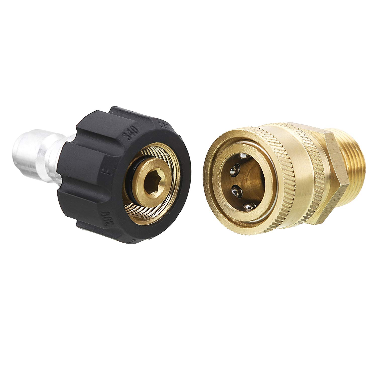 BLACK RIDGE Quick Disconnect Kit, Pressure Washer Adapter Set, Metric M22 14mm Swivel to M22 Male Fitting, 5000 PSI