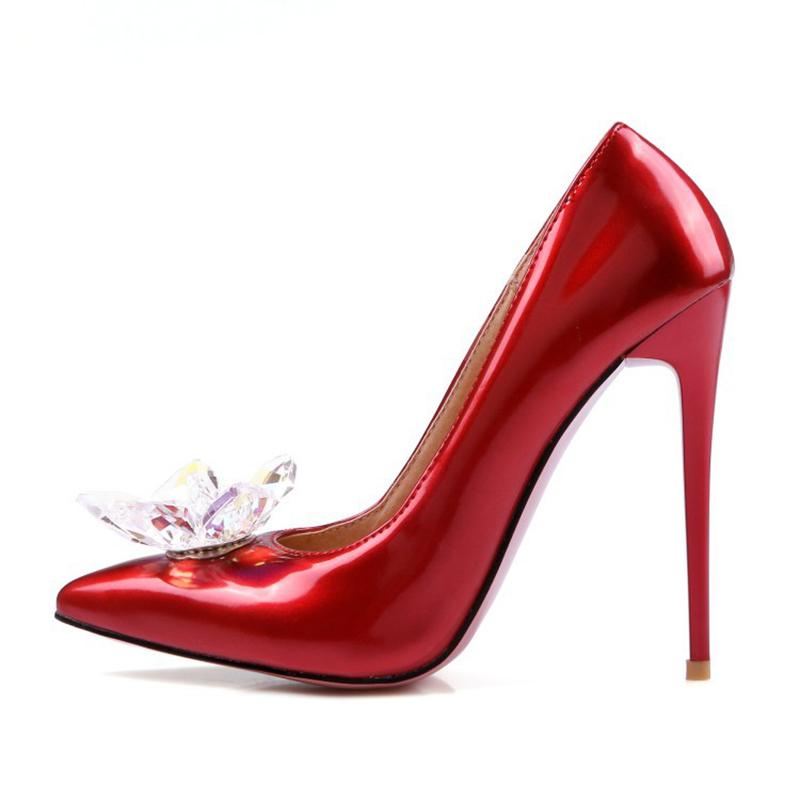 Wedding Quality Shoes High Women Crystal Red xdwwI6Z