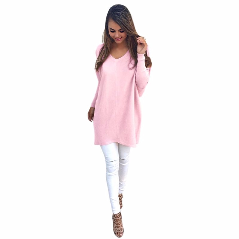 160ebcc8b0 Sexy Solid Outwear Womens V-Neck Chunky Knitted Oversized Baggy ...