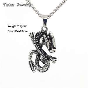 Lucky Dragon Black oxidized silver stainless steel dragon pendant