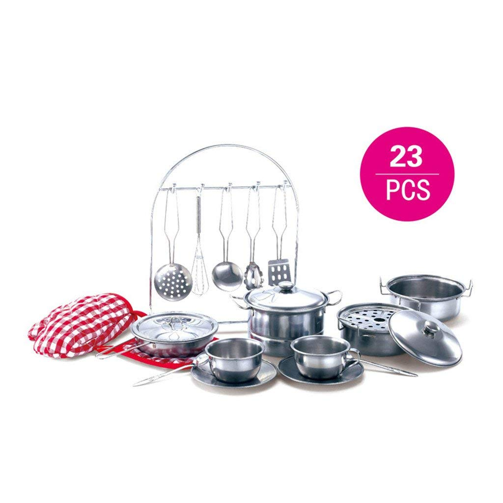 Kids Stainless Steel Kitchen Simulation Pots Pans Food Gift Miniature Pretend Kitchen Cook Gift Simulation Play Toys (23 pcs)