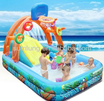 Swimming pool aufblasbar  Basketball Inflatable Pool Swimming With Slide Children Paddling ...