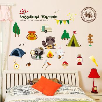 Syene New Cartoon Cute Wall Decals Kids Room Home Decor Woodland ...