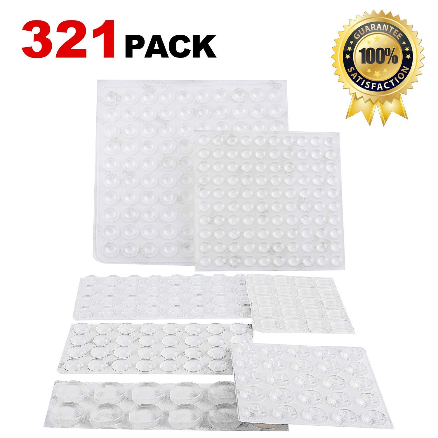 Noise Dampening Cabinet Door Bumpers Pads 321 Pieces Self Adhesive Clear Rubber Feet Transparent Stick Bumpers 7 Shapes for Drawers, Cabinet Doors, Cutting Boards, Picture Frames-OKZEST