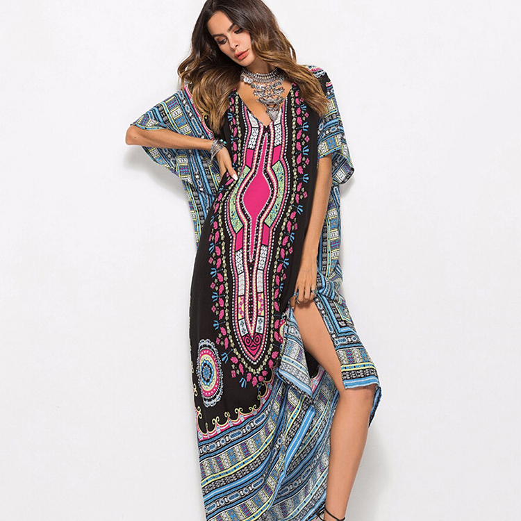 2019 Black Tribal Plunging Neck Dresses Ankle Length African Print Clothing Long Maxi Dress